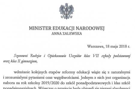 List Pani Anny Zalewskiej – Ministra Edukacji Narodowej skierowanego do Rodziców i Opi