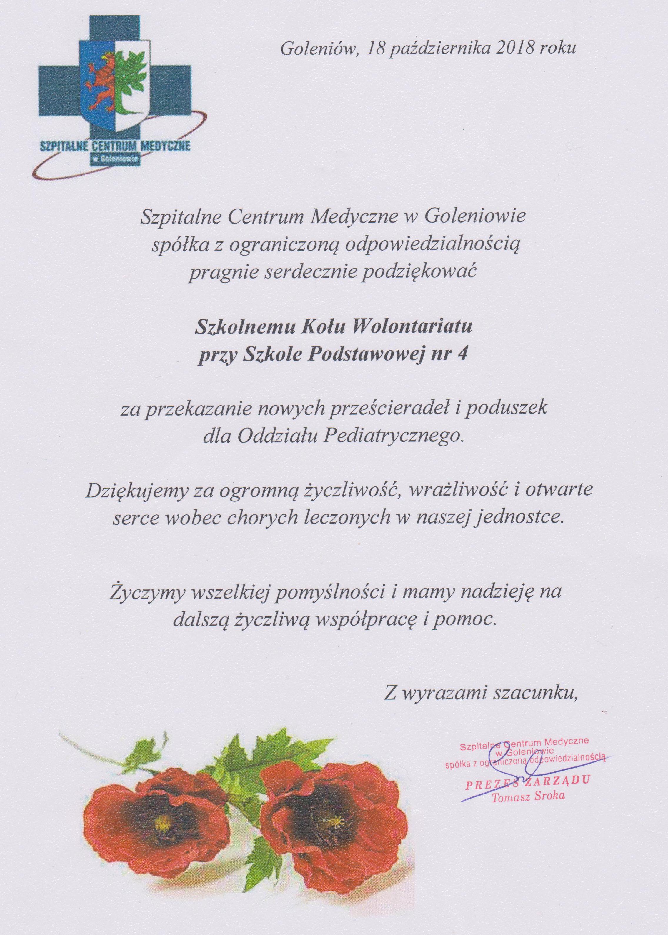 Szpitalne Centrum Medyczne w Goleniowie dziękuje wolontariuszom z SP4