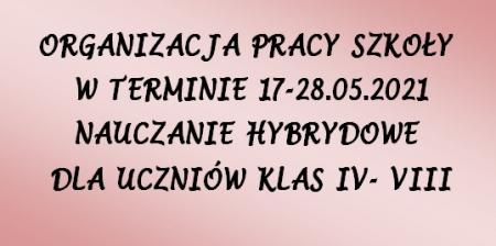 ORGANIZACJAPRACYSZKOŁYWTERMINIE17.05.-28.05.2021 NAUCZANIEHYBRYDOWE
